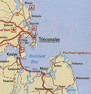 map of Trincomalee and surroundings